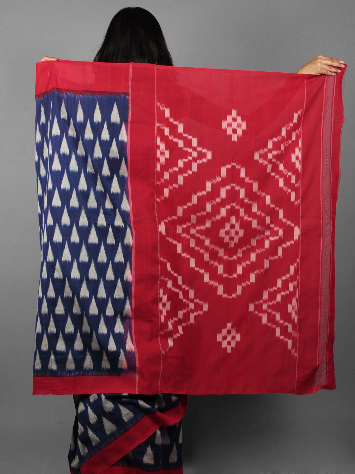 Indigo Maroon Ivory Ikat Handwoven Pochampally Cotton Saree - S031701914