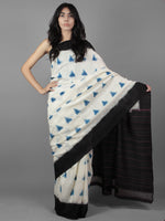 Ivory Teal Blue Black Double Ikat Handwoven Pochampally Cotton Saree - S031701916