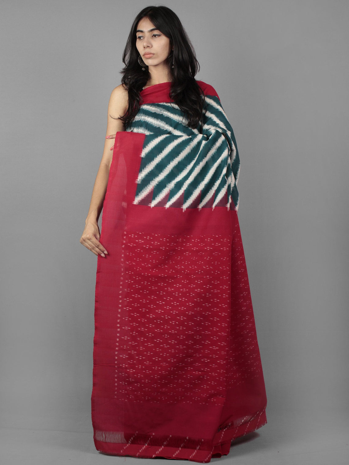 Teal Green Maroon Ivory Double Ikat Handwoven Pochampally Cotton Saree - S031701917