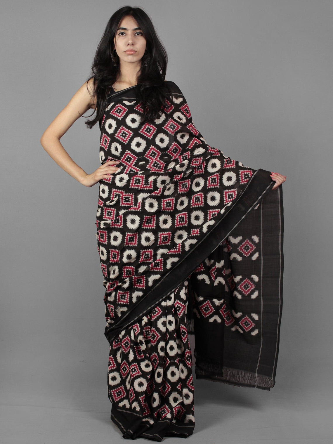 Maroon Black Ivory Telia Rumal Double Ikat Handwoven Pochampally Mercerized Cotton Saree - S031701918