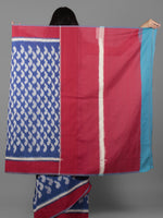 Royal Blue Ivory Maroon Ikat Handwoven Cotton Saree - S031701920