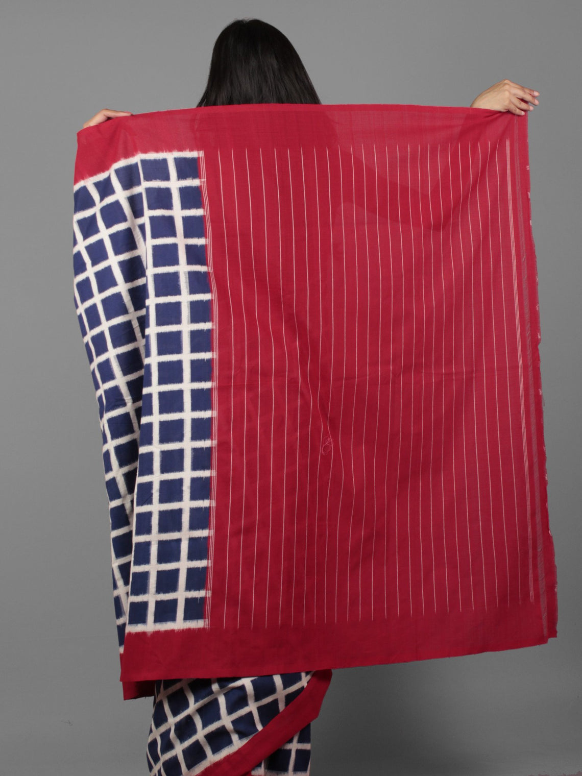 Indigo Ivory Maroon Double Ikat Handwoven Pochampally Cotton Saree - S031701921