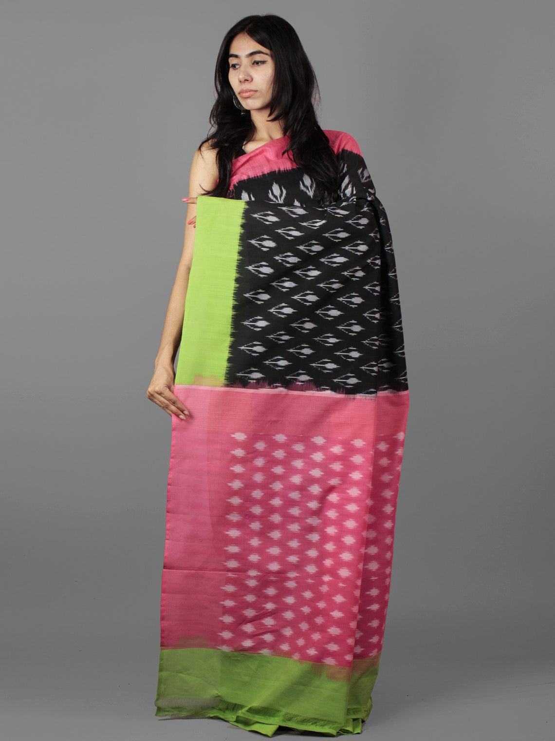 Black Pink Green Grey Ikat Handwoven Ganga Jamuna Border Cotton Saree - S031701925