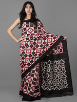 Ivory Black Red Telia Rumal Double Ikat Handwoven Pochampally Mercerized Cotton Saree - S031701927