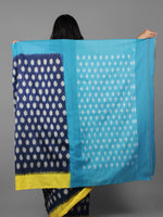 Indigo Pastel Yellow Teal Blue Ikat Handwoven Ganga Jamuna Border Pochampally Cotton Saree - S031701929