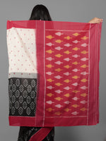 Ivory Black Maroon Ikat Handwoven Pochampally Cotton Saree - S031701930