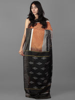 Rust Black Ivory Grey Ikat Handwoven Pochampally Cotton Saree With Zari Border - S031701935