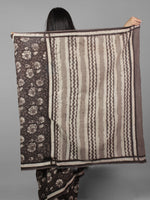 Kashish Grey Ivory Black Bagru Dabu Hand Block Printed in Cotton Mul Saree - S031701965
