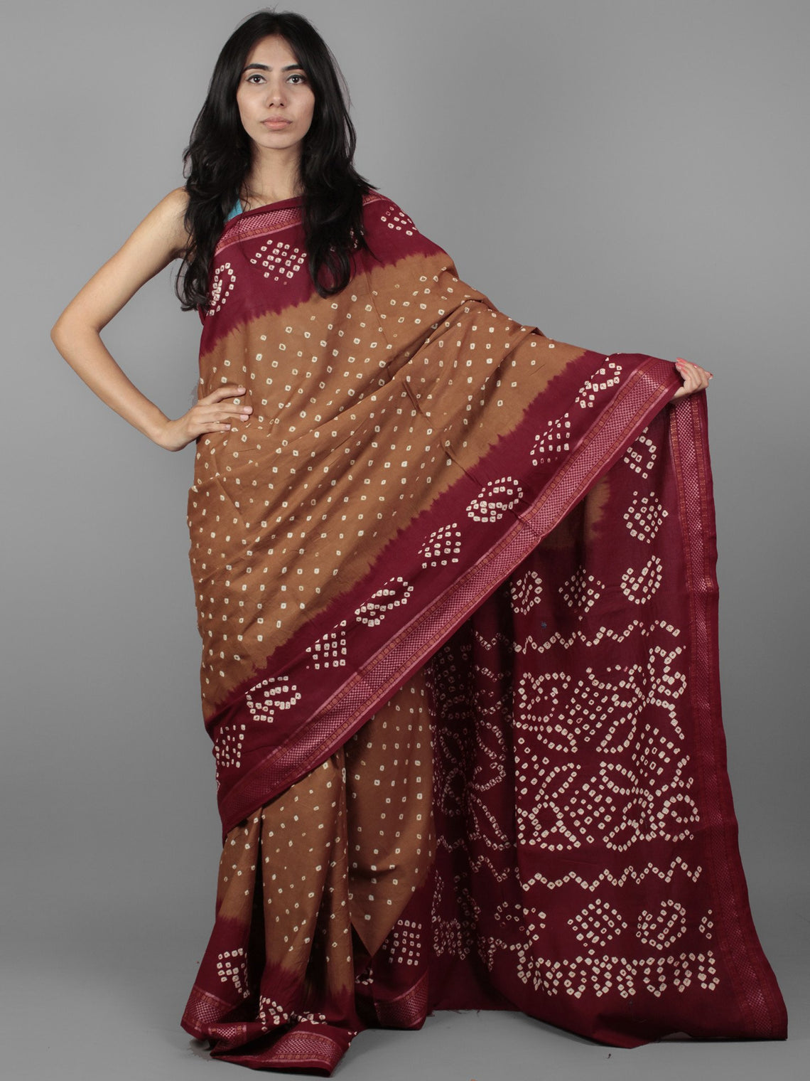 Brown Maroon Ivory Hand Tie & Dye Bandhej Glace Cotton Saree With Resham Border - S031701966