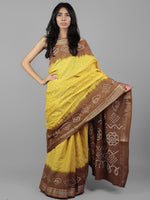 Brown Yellow Ivory Hand Tie & Dye Bandhej Glace Cotton Saree With Resham Border - S031701971