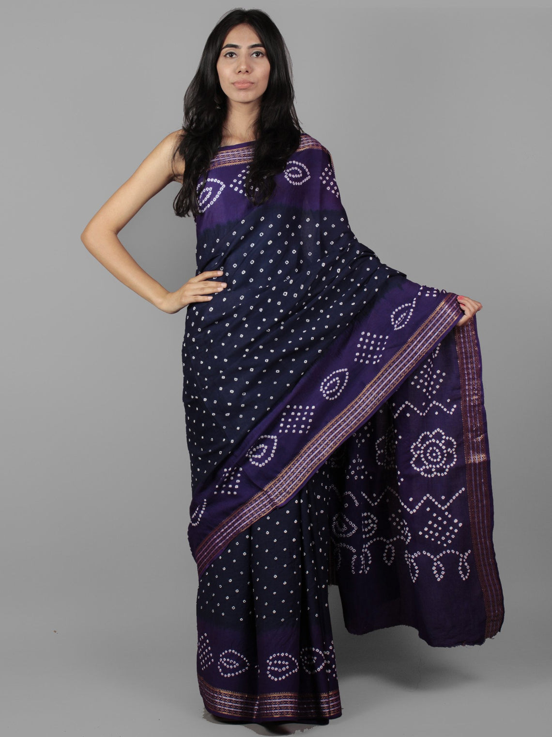 Royal Blue Purple Ivory Hand Tie & Dye Bandhej Glace Cotton Saree With Resham Border - S031701972