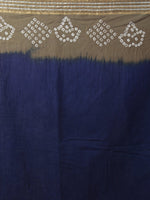 Royal Blue Cedar Brown Ivory Hand Tie & Dye Bandhej Glace Cotton Saree With Resham Border - S031701973