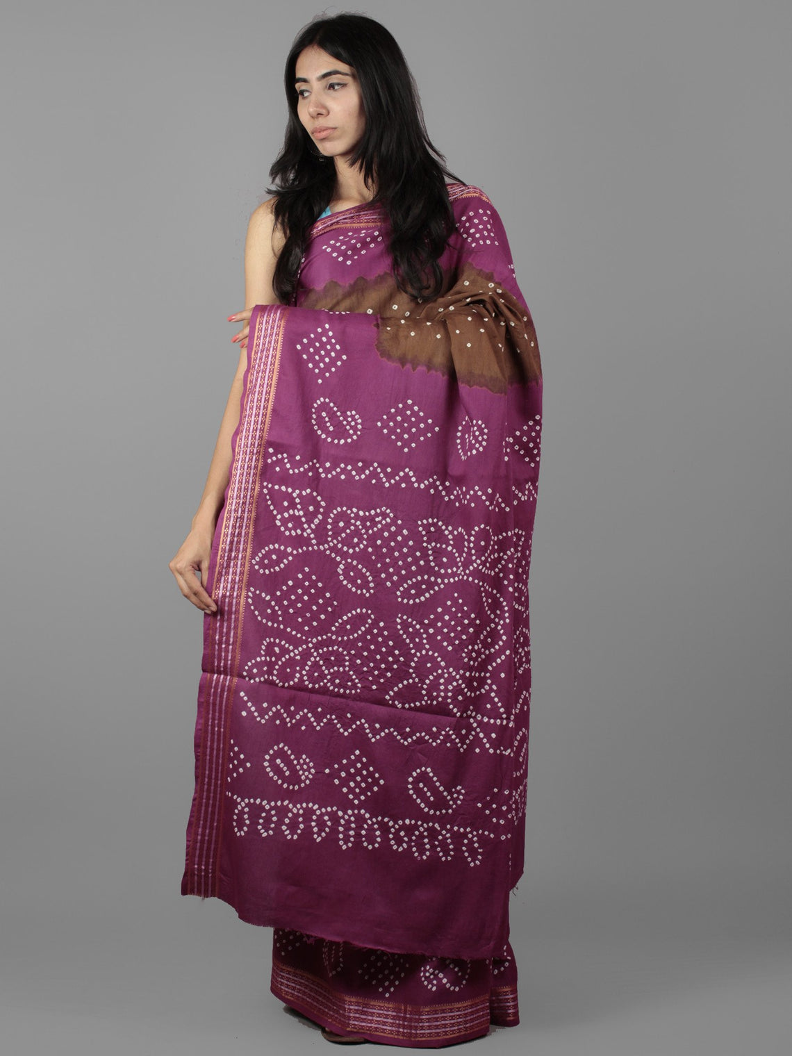 Brown Purple Ivory Hand Tie & Dye Bandhej Glace Cotton Saree With Resham Border - S031701974