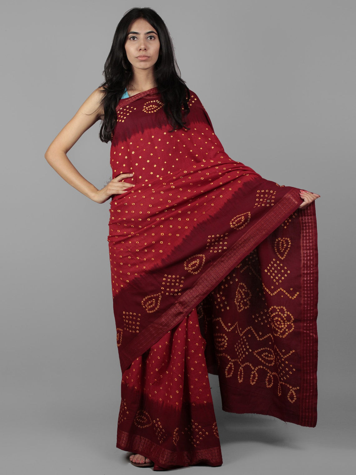 Red Maroon Yellow Hand Tie & Dye Bandhej Glace Cotton Saree With Resham Border - S031701976