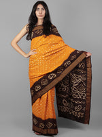 Orange Brown Ivory Hand Tie & Dye Bandhej Glace Cotton Saree With Resham Border - S031701977