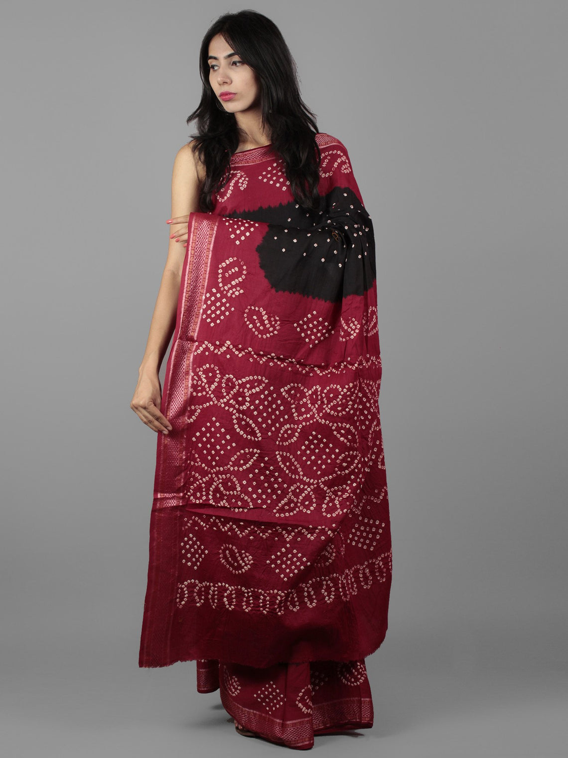 Black Maroon Ivory Hand Tie & Dye Bandhej Glace Cotton Saree With Resham Border - S031701984