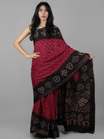 Maroon Ivory Hand Tie & Dye Bandhej Glace Cotton Saree With Resham Border - S031701987