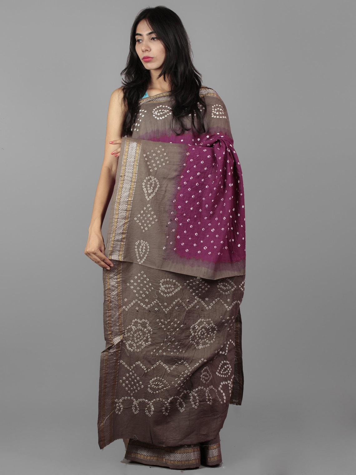 Purple Cedar Brown Ivory Hand Tie & Dye Bandhej Glace Cotton Saree With Resham Border - S031701988