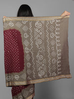 Maroon Grey Ivory Hand Tie & Dye Bandhej Glace Cotton Saree With Resham Border - S031701991