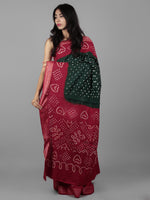 Green Maroon Ivory Hand Tie & Dye Bandhej Glace Cotton Saree With Resham Border - S031701992