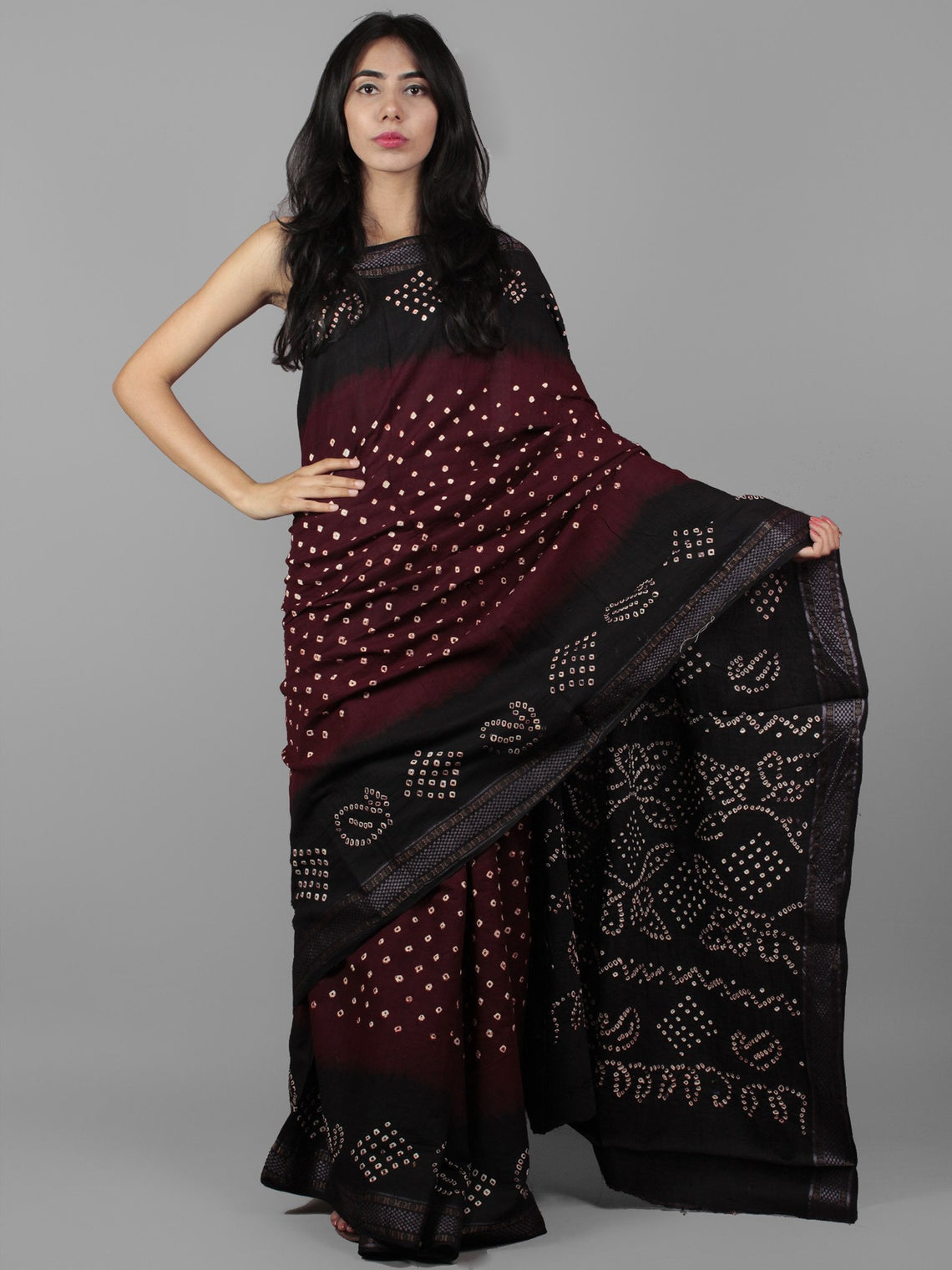 Maroon Black Ivory Hand Tie & Dye Bandhej Glace Cotton Saree With Resham Border - S031701993