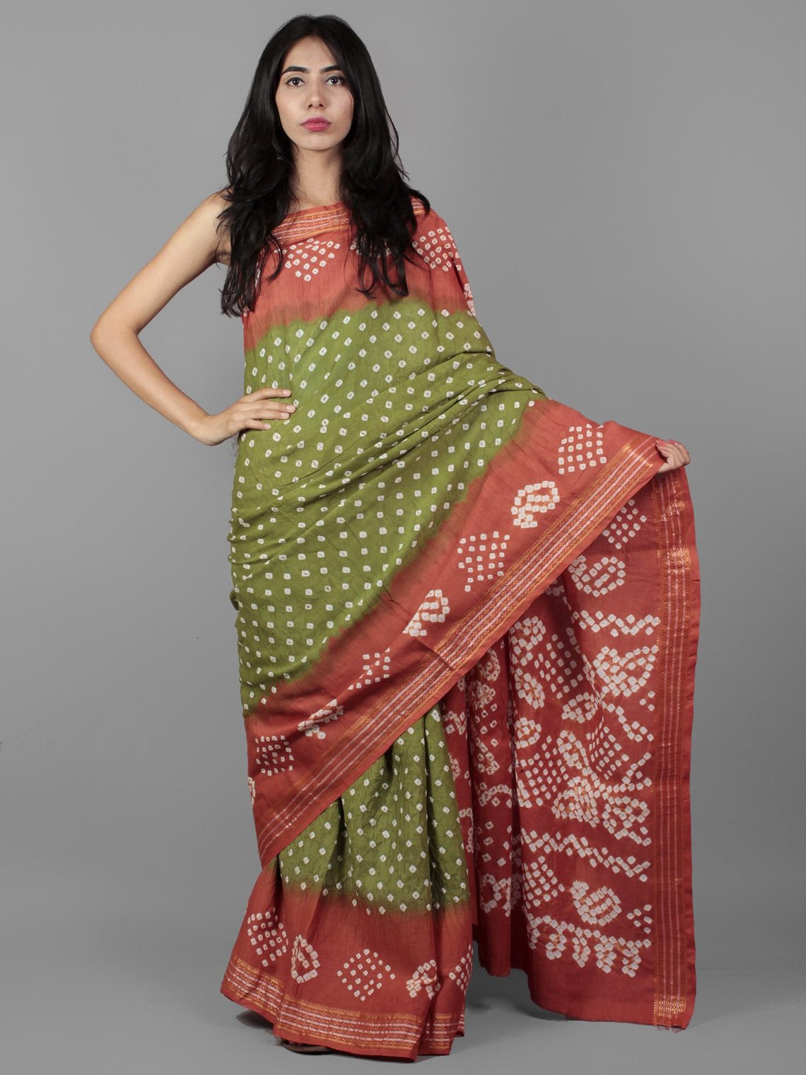 Green Peach Ivory Hand Tie & Dye Bandhej Glace Cotton Saree With Resham Border - S031701994