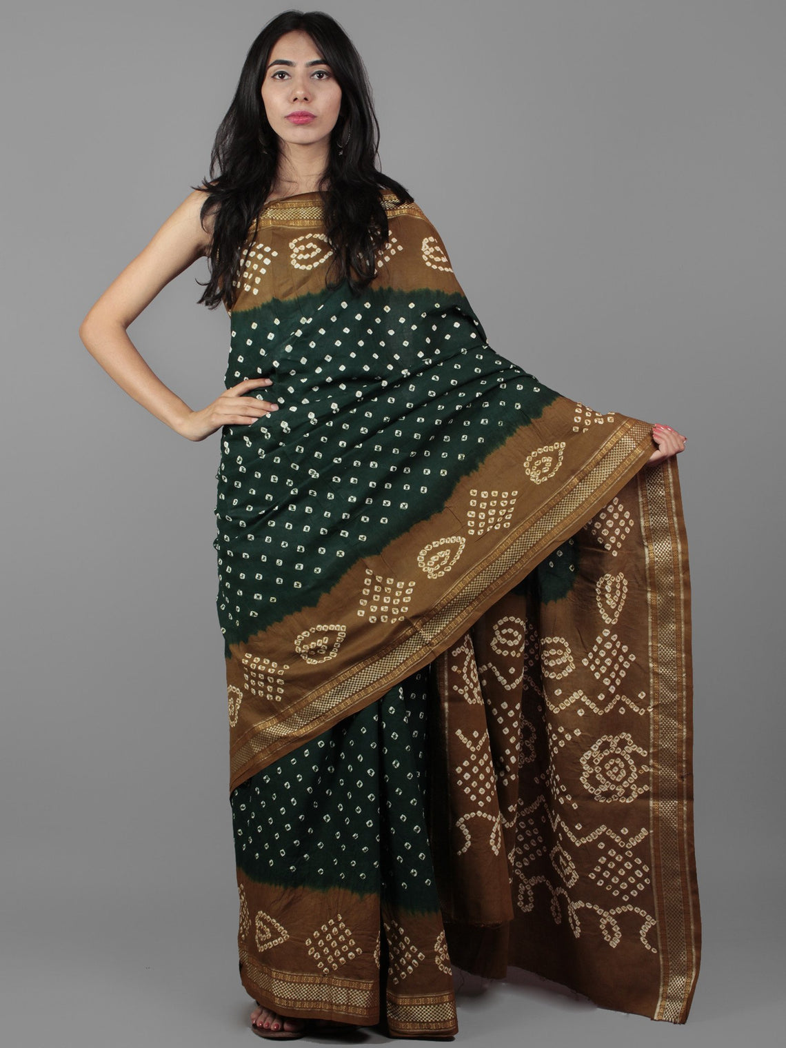 Green Cedar Brown Ivory Hand Tie & Dye Bandhej Glace Cotton Saree With Resham Border - S031701996