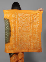 Green Orange Ivory Hand Tie & Dye Bandhej Glace Cotton Saree With Resham Border - S031701997