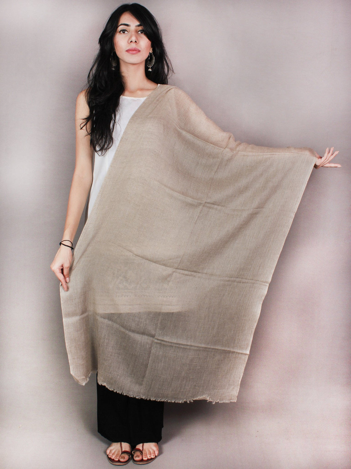 Brown Pure Pashmina Handloom Stole from Kashmir - S6317092