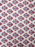 White Blue Red Hand Block Printed Cotton Cambric Fabric Per Meter - F0916410