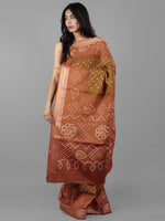 Brown Rust Ivory Hand Tie & Dye Bandhej Glace Cotton Saree With Resham Border - S031702003