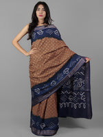 Brown Royal Blue Ivory Hand Tie & Dye Bandhej Glace Cotton Saree With Resham Border - S031702005