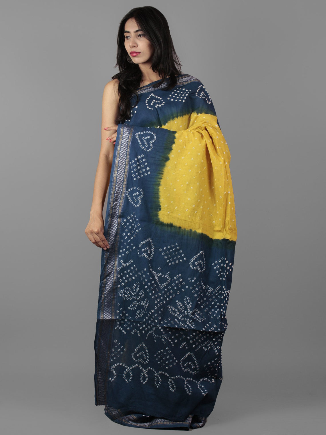 Yellow Blue Ivory Hand Tie & Dye Bandhej Glace Cotton Saree With Resham Border - S031702007
