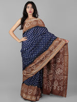 Royal Blue Brown Ivory Hand Tie & Dye Bandhej Glace Cotton Saree With Resham Border - S031702009