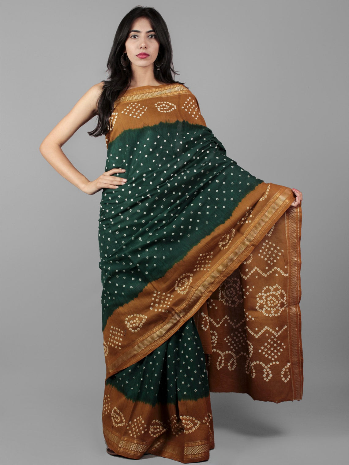Green Brown Ivory Hand Tie & Dye Bandhej Glace Cotton Saree With Resham Border - S031702010
