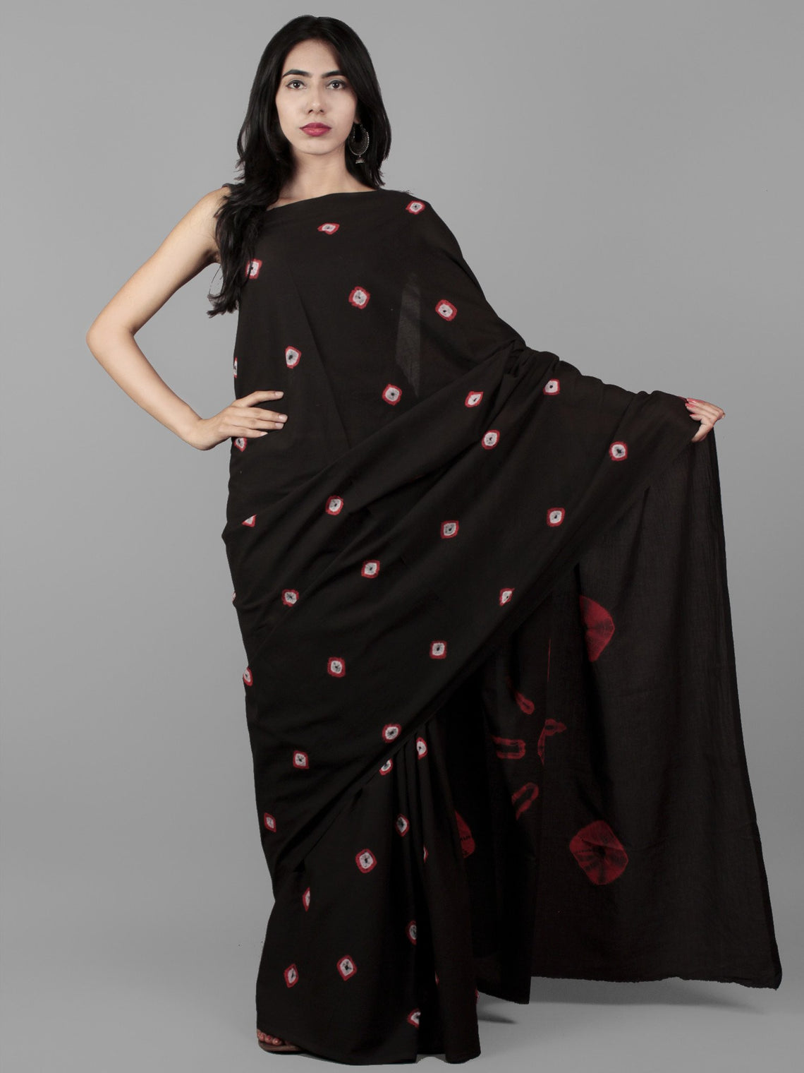Black White Red Hand Shibori Dyed Cotton Saree - S031702012