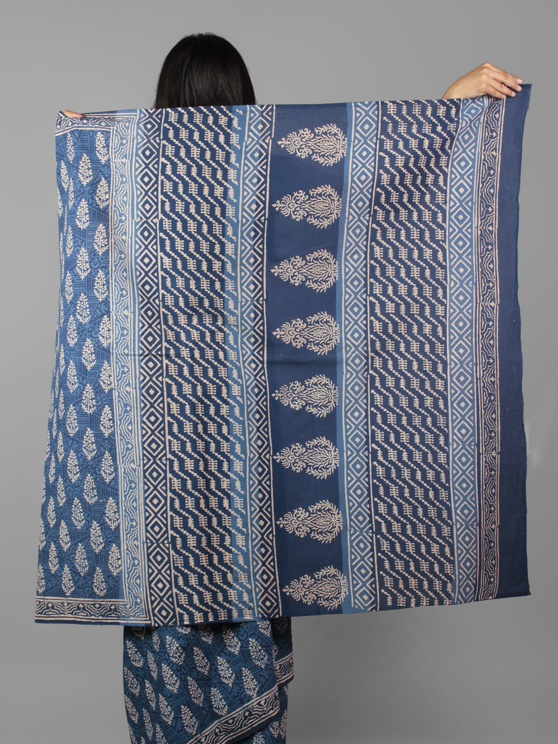 Indigo Ivory Hand Block Printed in Natural Colors Cotton Mul Saree - S031702013