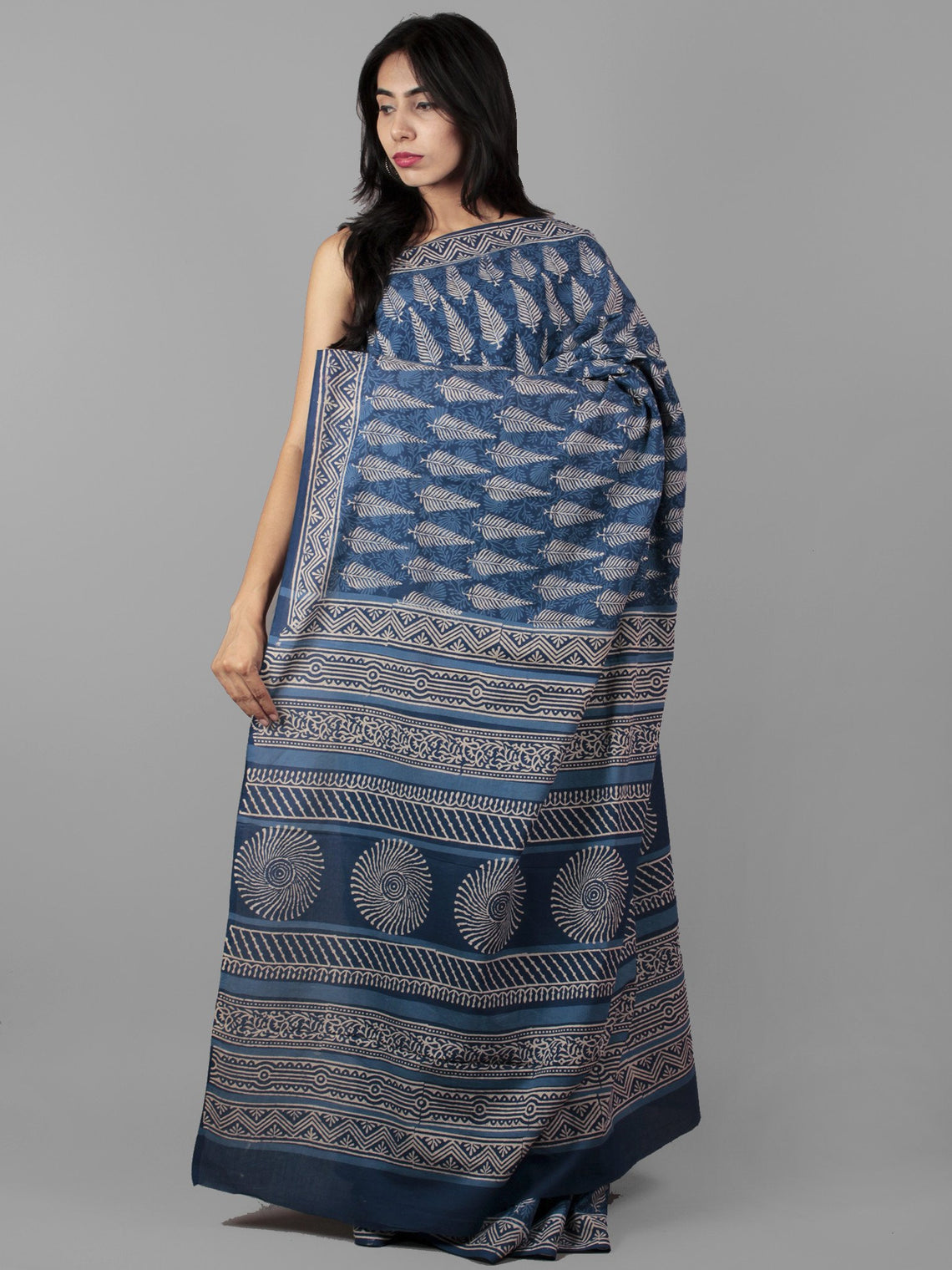 Indigo Ivory Hand Block Printed in Natural Colors Cotton Mul Saree - S031702016