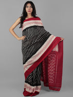 Black Ivory Red Ikat Handwoven Pochampally Mercerized Cotton Saree - S031702021