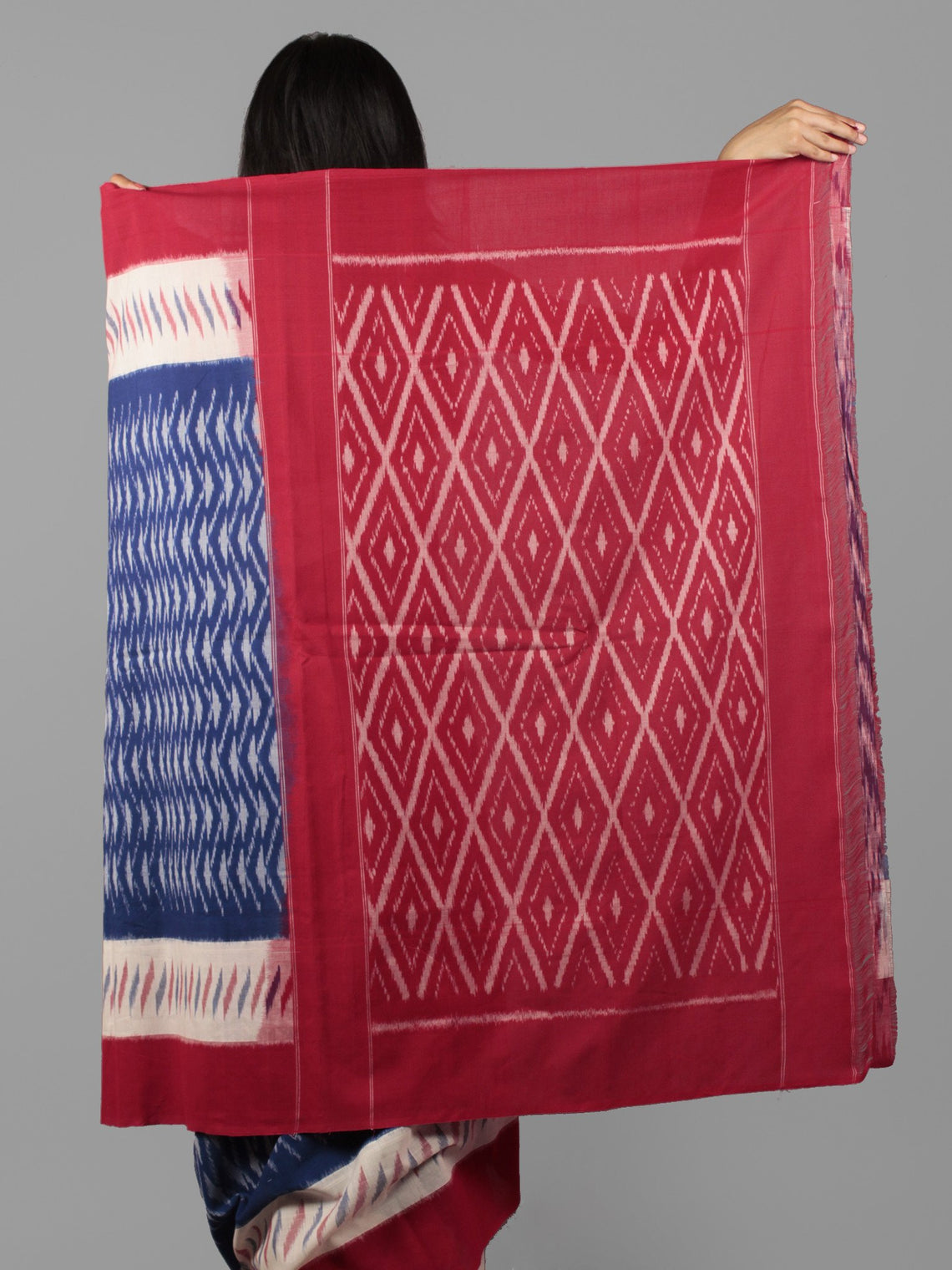 Royal Blue Ivory Red Ikat Handwoven Pochampally Mercerized Cotton Saree - S031702022