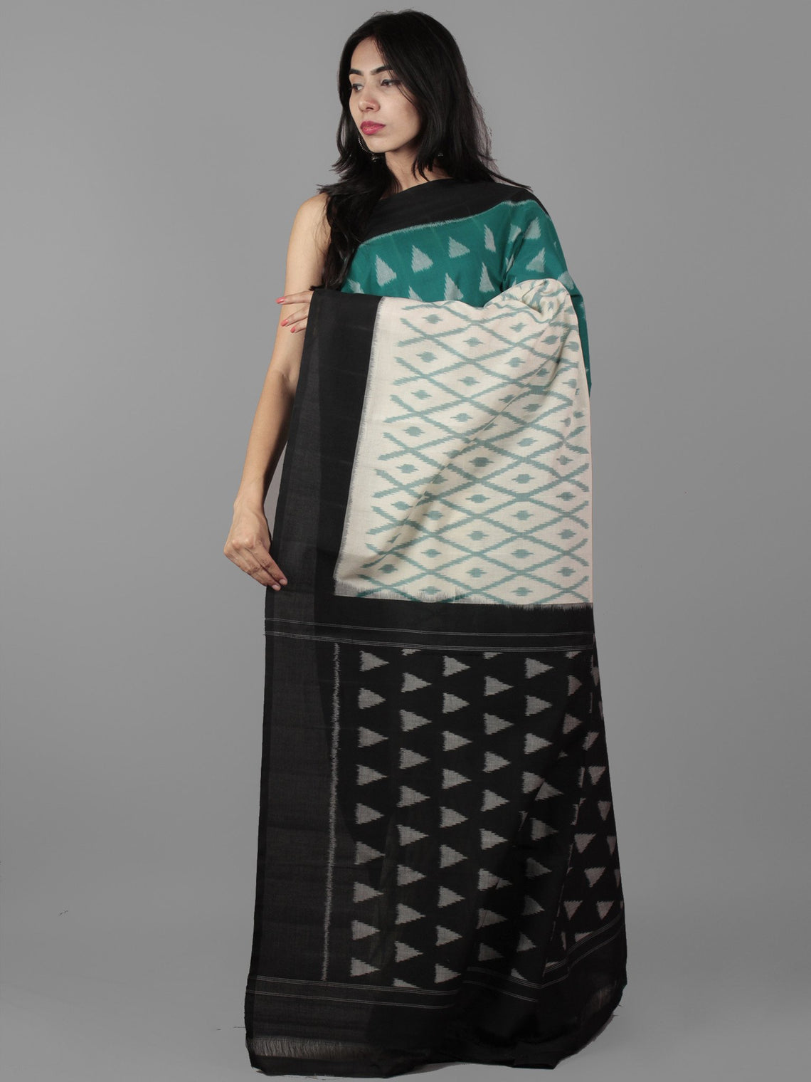 Teal Green Ivory Black Grey Ikat Handwoven Pochampally Mercerized Cotton Saree - S031702028