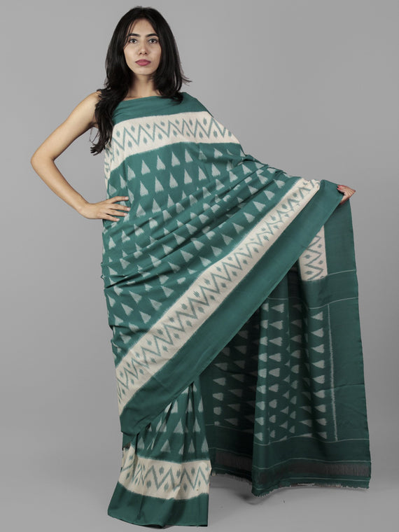 Teal Green Ivory Grey Ikat Handwoven Pochampally Mercerized Cotton Saree - S031702039