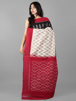 Black Ivory Maroon Ikat Handwoven Pochampally Mercerized Cotton Saree - S031702040
