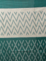 Teal Green Ivory Ikat Handwoven Pochampally Mercerized Cotton Saree - S031702042