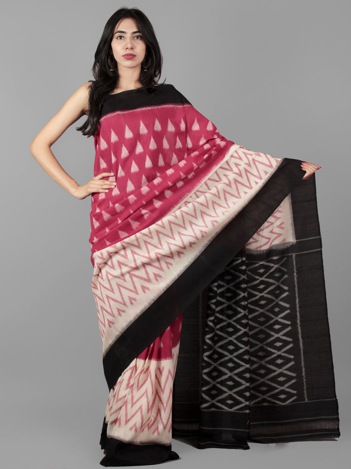 Pink Black Ivory Ikat Handwoven Pochampally Mercerized Cotton Saree - S031702043