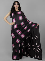 Black Pink White Hand Shibori Dyed Cotton Saree With Pink Blouse- S031702051