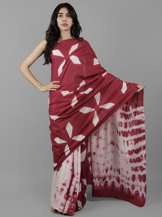 Maroon White Ivory Shibori Dyed Cotton Saree - S031702052