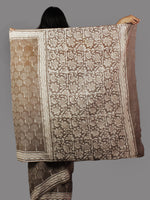 Kashish Ivory Hand Block Printed in Cotton Mul Saree - S031702054