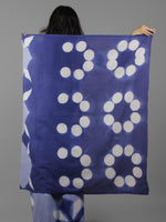 Indigo Cerulean Blue White Shibori Dyed Cotton Saree - S031702057