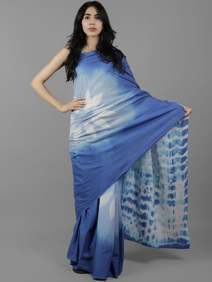 Blue White Shibori Dyed Cotton Saree - S031702064